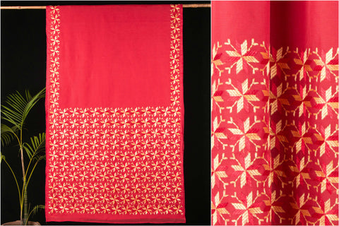 Traditional Kota Cotton Phulkari Embroidered Saree