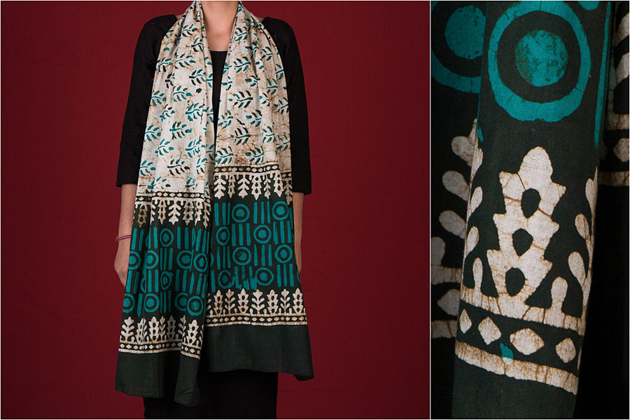 Hand Printed Batik Cotton Stole by Wasim