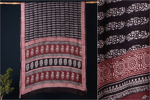 Special Neemuch Bagh Block Print Natural Dyed Cotton Saree with Blouse