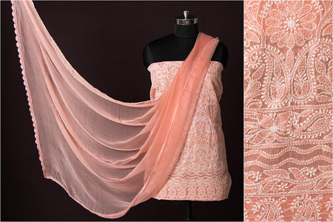 3pc Lucknow Chikankari Embroidered Cotton Suit Material
