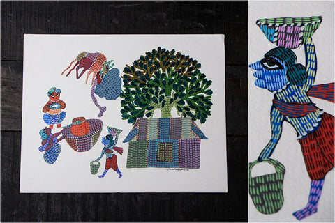 Gond Painting on Paper by Gariba Singh Tekam Original Artwork (11 x 14 inches)