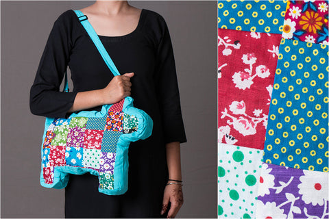 Patchwork Cotton Shoulder Bag - Dog
