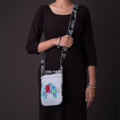 Applique Quilted Sling Bag