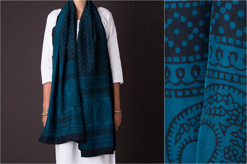 Bagh Block Print Natural Dyed Bangalore Silk Stole by Bilal Khatri