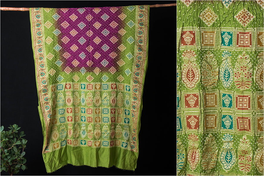 Gadwal Silk-Cotton Banarasi Work Bandhani Saree