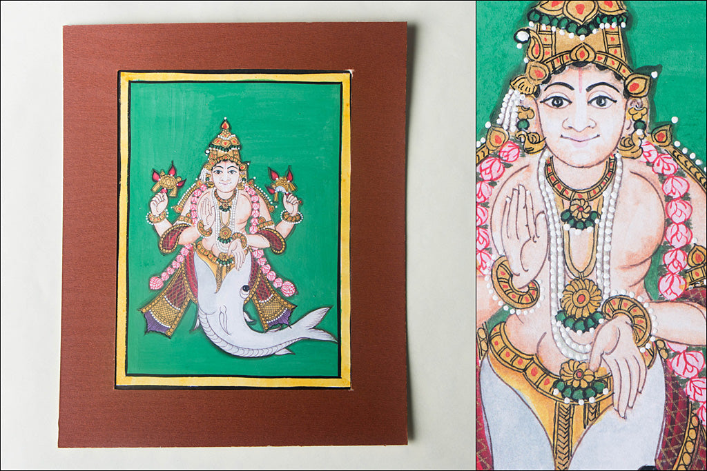 8in x 6in - Traditional Mysore Painting Matsyavathara