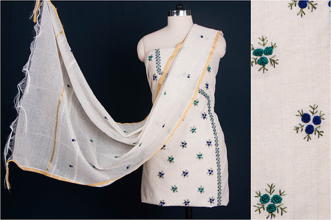 Phulkari Embroidered Phul Buti Cotton 3pc Suit Dress Material