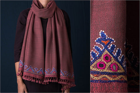 Bakhiya Border Mirror Hand Embroidered Woolen Stole
