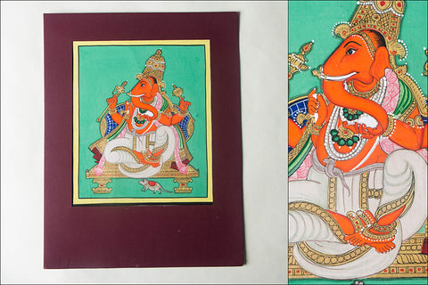 12.8in x 8in - Traditional Mysore Painting Ganesha