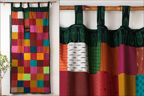 Noori Ikat Jaquard Patchwork Cotton Door Curtain (7 x 3.5 feet)