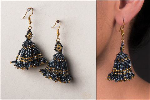 Neemuch Handmade Beadwork Jhumki Earrings by Pushpa Harit