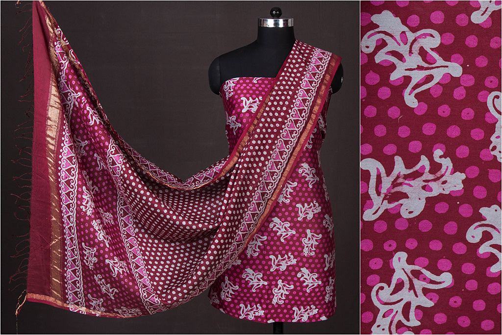 Hand Batik Print Chanderi Silk 2pc Suit Material from Kutch