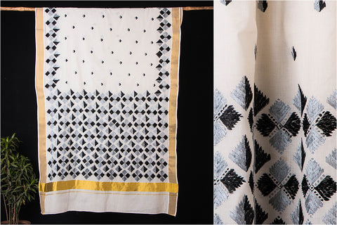 Traditional Phulkari Embroidered Kerala Cotton Saree with Zari