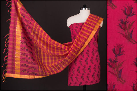 Mangalgiri Handloom Block Printed Cotton 3pc Suit Material Set with Zari