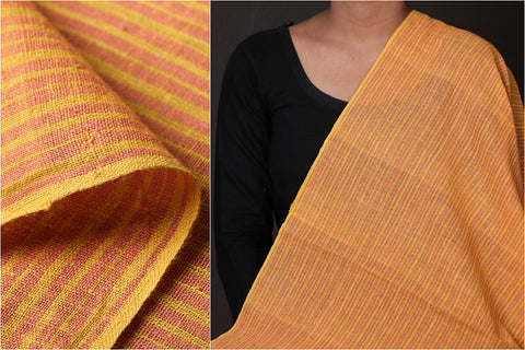 Organic Kala Cotton Yellow Pink Stripe Fabric (Width - 45in)