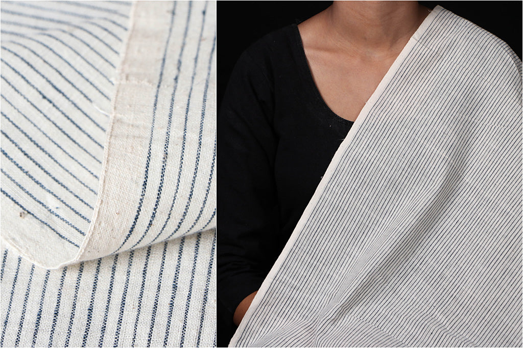 Malkha Cotton Pure Handloom Natural Dyed Fabric - Kora/Light Indigo