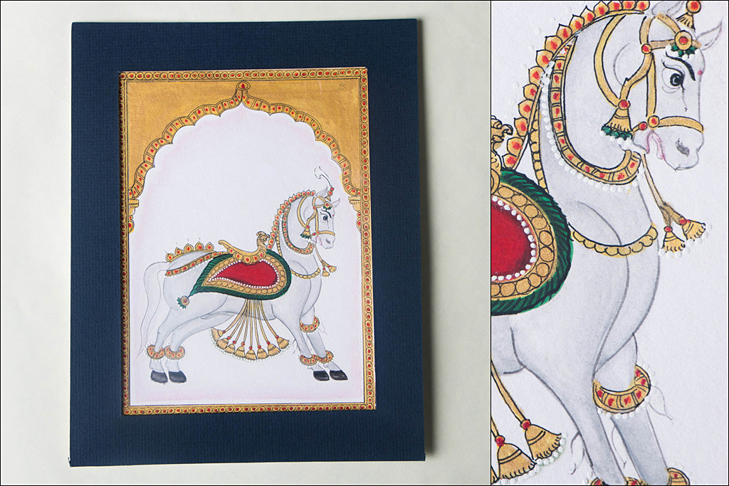 8.2in x 6.4in - Traditional Mysore Painting Palace Horse