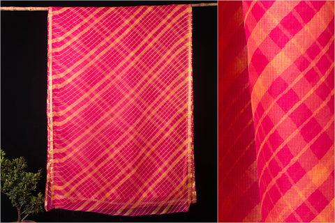 Original Leheria Tie-Dye Shibori Pure Kota Doria Silk Saree with Blouse