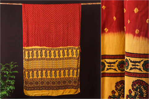 Special Modal Silk Chaar Kaam Ajrakh Kutchhi Bandhani Saree with Blouse