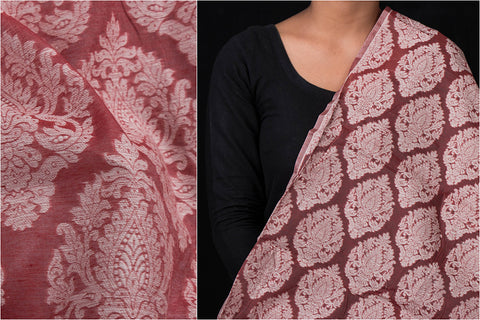 Traditional Pure Banarasi Handloom Silk Cotton Cutwork Fabric