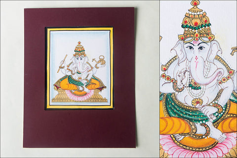 6in x 5in - Traditional Mysore Painting Dvija Ganapathi God