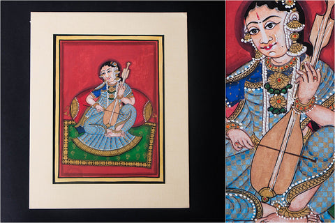 8in x 6in - Traditional Mysore Painting Musical Lady with Old Violin