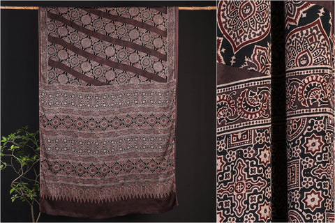Ajrakh Block Print Modal Silk Chaar Kaam Saree with Blouse