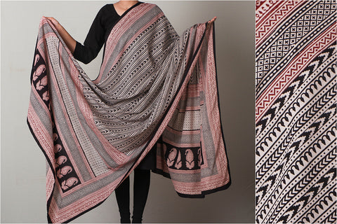 Bagh Hand Block Print Natural Dyed Pure Cotton Dupatta
