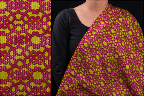 Screen Print Running Kantha Cotton Fabric