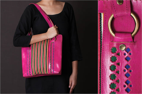 Leather With Mashru Silk Fabric Tiger Shoulder Bag