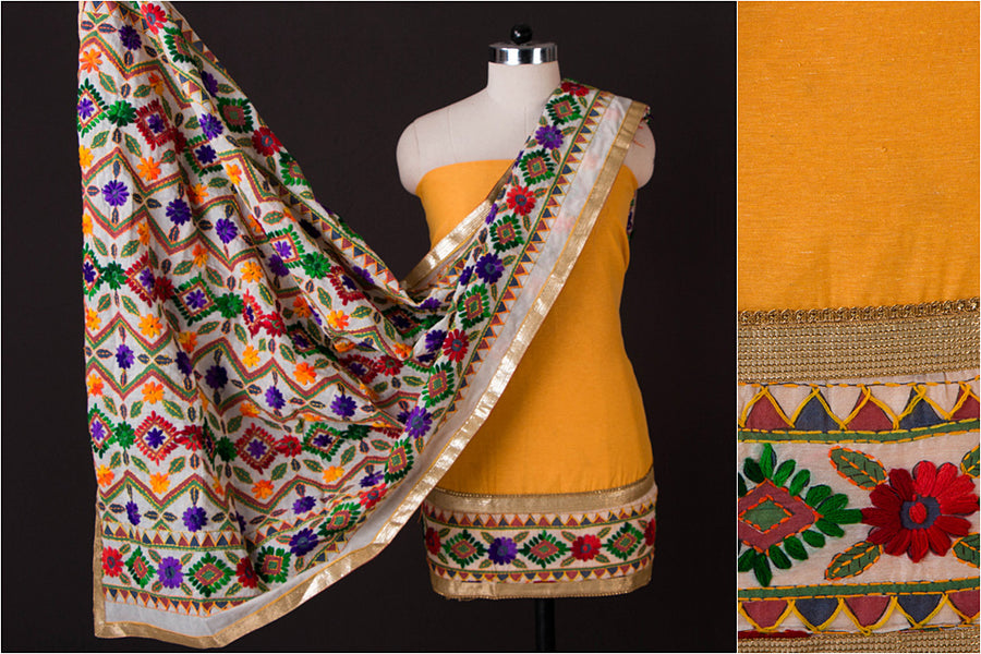 Phulkari Embroidered Cotton 3pc Suit Material with Gota Patti