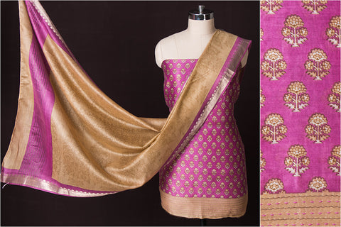3pc Handloom Block Printed Chanderi Silk Cotton Block Printed Suit Material Set