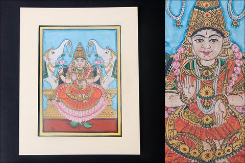8in x 6in - Traditional Mysore Painting Gaja Lakshmi God
