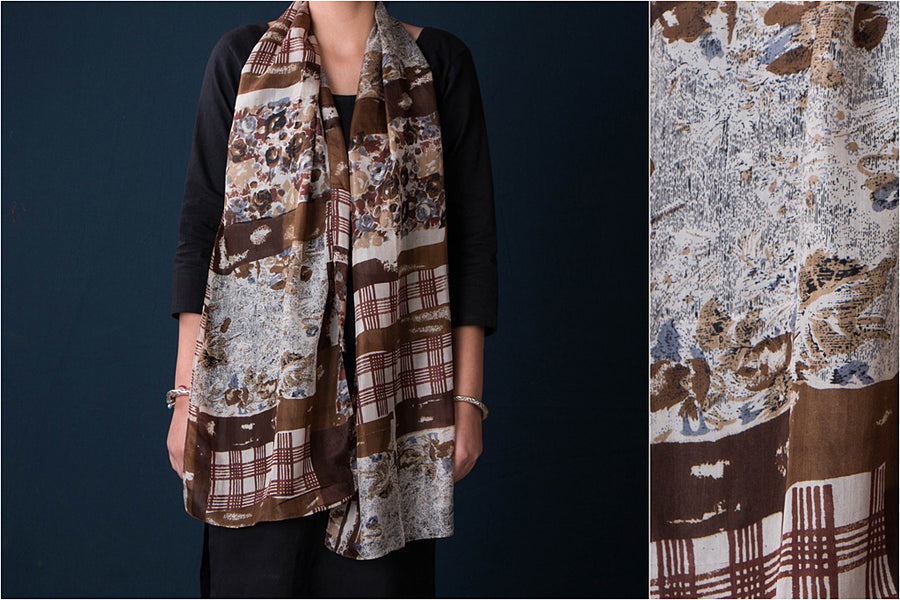 Farukhabad Screen Printed Silk Stole