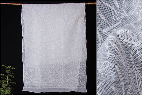 Lucknow Chikankari Hand Embroidered Kota Doria Cotton Saree
