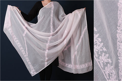 Lucknow Chikankari Hand Embroidered Soft Cotton Kota Doria Dupatta