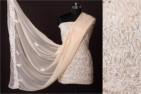 3pc Lucknow Chikankari Embroidered Gota Patti Georgette Suit Material