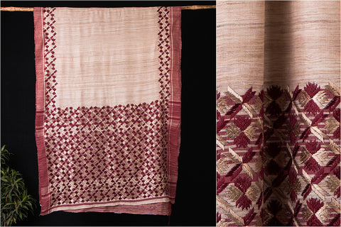 Traditional Phulkari Embroidered Tussar Silk Saree