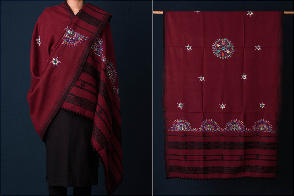 Neran Hand Embroidered Woolen Shawl