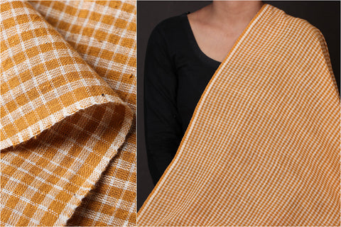 Organic Kala Cotton Rust White Checks Fabric (Width - 44in)