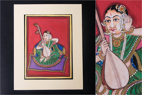 8in x 6in - Traditional Mysore Painting Musical Lady with Tanpura