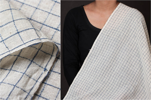 Organic Kala Cotton White Blue Checks Fabric (Width - 44in)