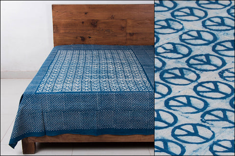 Block Art Prints Natural Dyed Cotton Single Bedcover by Bindaas Unlimited (88 x 62 inches))