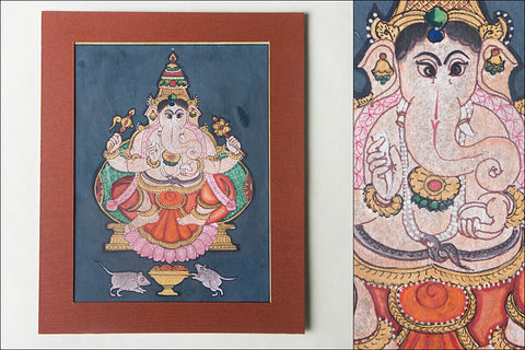 8in x 6in - Traditional Mysore Painting Ganesha God