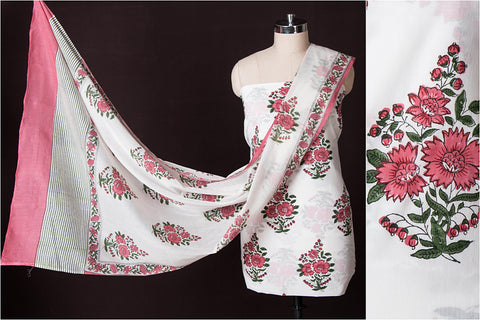 2pc Block Printed Suit Material with Block Printed Mul Dupatta