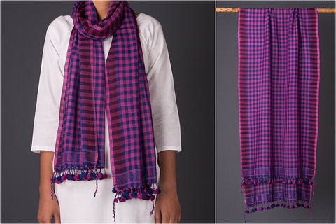Pure Woolen Checks Multi Fuman Stole from Kutch