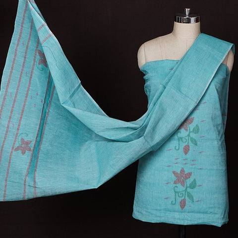 Traditional Handloom Manipuri Weave Cotton 3pc Suit Material Set