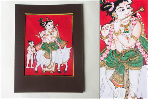 10in x 8in - Traditional Mysore Painting Sri Krishnavathara
