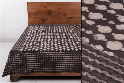Block Art Prints Natural Dyed Cotton Single Bedcover by Bindaas Unlimited (86 x 62 inches)
