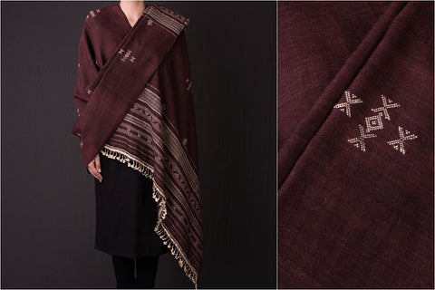 Handwoven Traditional Silk x Wool Cheda Border Shawl